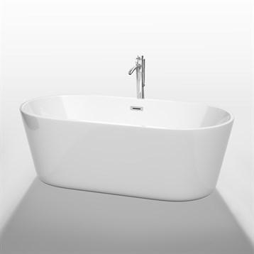 """Carissa 67"""" Soaking Bathtub by Wyndham Collection, White WC-BT1012-67 by Wyndham Collection®"""