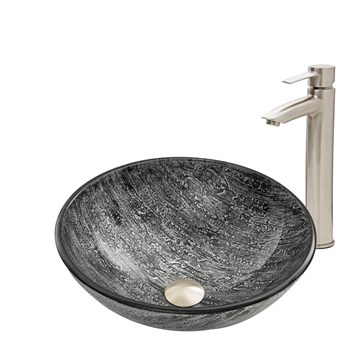 Vigo Titanium Glass Vessel Sink and Shadow Faucet Set in Brushed Nickel Finish VGT557 by Vigo Industries
