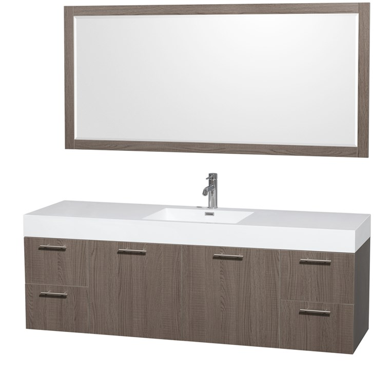 "Amare 72"" Wall-Mounted Single Bathroom Vanity Set with Integrated Sink by Wyndham Collection - Gray Oak WC-R4100-72-VAN-GRO-SGL"
