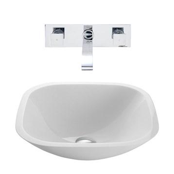 Vigo Square Shaped White Phoenix Stone Vessel Sink with Titus Wall Mount Faucet Set VGT221- by Vigo Industries
