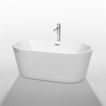 """Carissa 60"""" Soaking Bathtub by Wyndham Collection, White WC-BT1012-60 by Wyndham Collection®"""