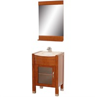 "Daytona 24"" Bathroom Vanity with Mirror - Cherry w/ Ivory Marble Counter"