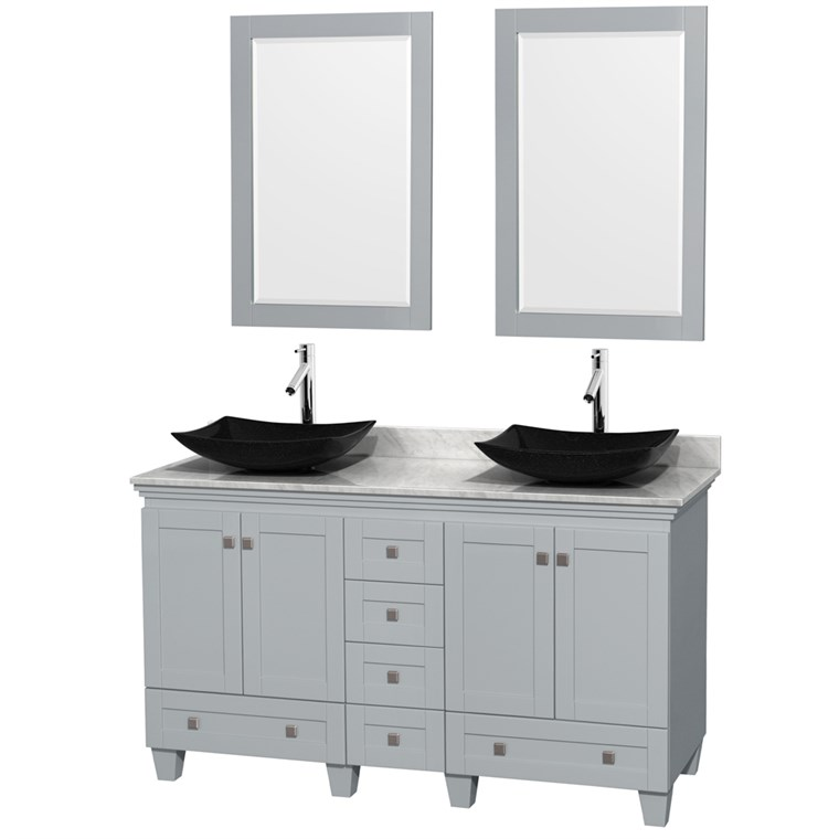 "Acclaim 60"" Double Bathroom Vanity for Vessel Sinks by Wyndham Collection - Oyster Gray WC-CG8000-60-DBL-VAN-OYS"