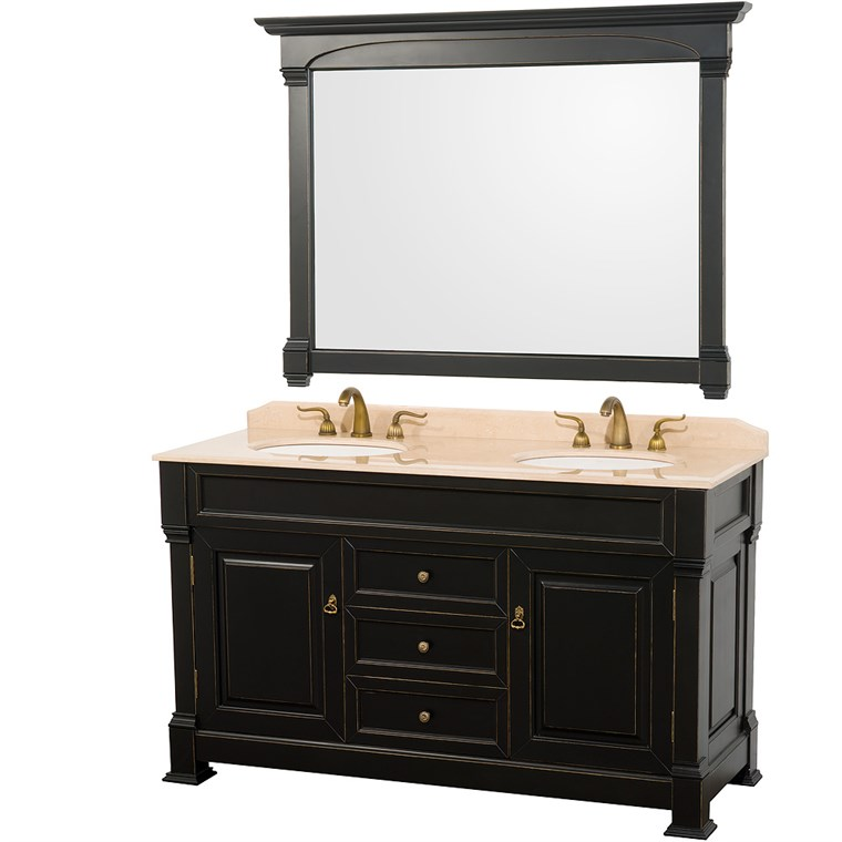 "Andover 60"" Traditional Bathroom Double Vanity Set by Wyndham Collection - Black WC-TD60-BLK"