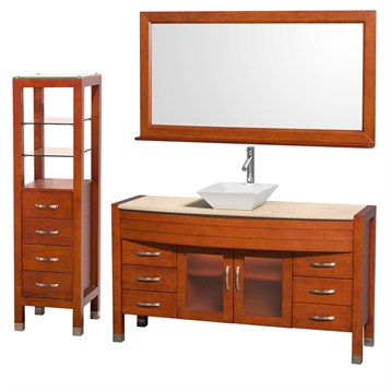 "Daytona 60"" Bathroom Vanity with Vessel Sink, Mirror and Cabinet by Wyndham Collection, Cherry... by Wyndham Collection®"