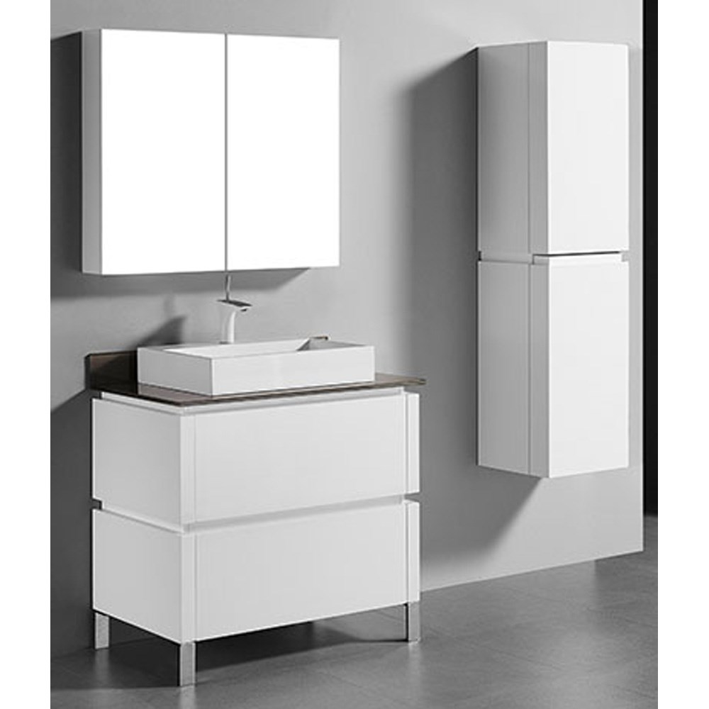"Madeli Metro 36"" Bathroom Vanity for Glass Counter and Porcelain Basin - Glossy White B600-36-001-GW-GLASS"