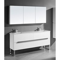 "Madeli Soho 72"" Double Bathroom Vanity for Quartzstone Top - Glossy White B400-72D-001-GW-QUARTZ"