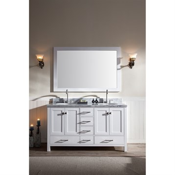 "Ariel Cambridge 61"" Double Sink Vanity Set with Carrera White Marble Countertop, White A061D-WHT by Ariel"