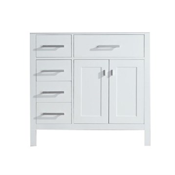 Design Element London 36 Single Vanity With Drawers On The Left White Carrera Countertop Sink