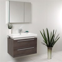 Fresca Medio Gray Oak Modern Bathroom Vanity with Medicine Cabinet FVN8080GO