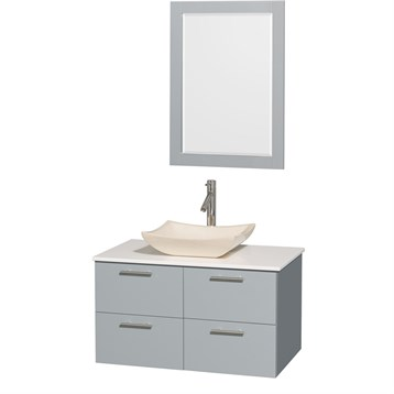 "Amare 36"" Wall-Mounted Bathroom Vanity Set with Vessel Sink by Wyndham Collection, Dove Gray WC-R4100-36-DVG by Wyndham Collection®"