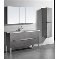 "Madeli Soho 60"" Single Bathroom Vanity for Quartzstone Top - Ash Grey B400-60C-001-AG-QUARTZ"