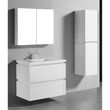"""Madeli Cube 36"""" Wall-Mounted Bathroom Vanity for Integrated Basin, Glossy White B500-36-002-GW by Madeli"""