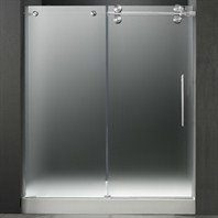 "VIGO 60-inch Frameless Shower Door 3/8"" Frosted/Chrome Hardware Right with White Base - Center Drain VG6041CHMT60RWL"