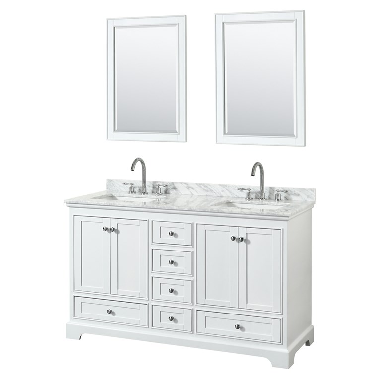"Deborah 60"" Double Bathroom Vanity by Wyndham Collection - White WC-2020-60-DBL-VAN-WHT"