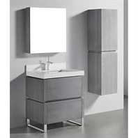 "Madeli Metro 30"" Bathroom Vanity for Quartzstone Top - Ash Grey B600-30-001-AG-QUARTZ"