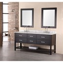 "Design Element London 72"" Double Bathroom Vanity with Open Bottom, White Carrera Countertop, Sinks and Mirrors - Espresso DEC077B"