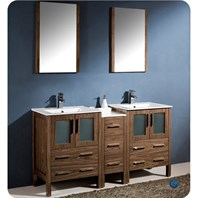 "Fresca Torino 60"" Walnut Brown Modern Double Sink Bathroom Vanity with Side Cabinet, Integrated Sinks, and Mirrors FVN62-241224WB-UNS"