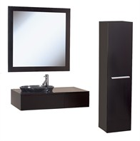 "Borla 33"" Wood Bathroom Vanity Set - Espresso w/ Smoke Glass Sink"