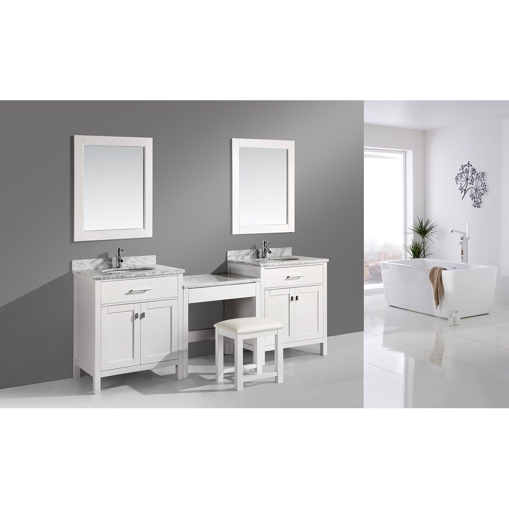 "Design Element London Two 30"" Single Vanities with Make-Up Table - Whitenohtin Sale $2099.00 SKU: DEC076E-WX2_MUT-W :"