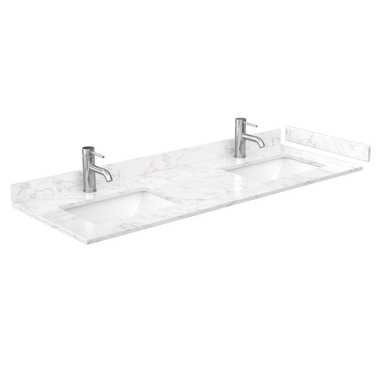 "60"" Double Countertop - Dark-Vein Carrara Cultured Marble with Undermount Square Sinks - Include Backsplash and Sidesplash WC-VCA-60-DBL-TOP-UMSQ-CC1"