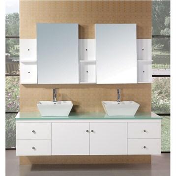 "Design Element Portland 71"" Double Sink Bathroom Vanity, White DEC071B-W by Design Element"