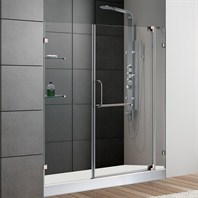 "VIGO 60-inch Frameless Shower Door 3/8"" Clear Glass Brushed Nickel Hardware with White Base VG6042BNCL60WL"
