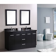 "Design Element Cosmo 60"" Double Sink Bathroom Vanity - Black DEC305"