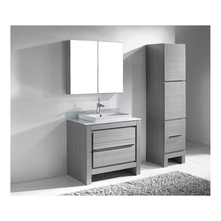 "Madeli Vicenza 36"" Bathroom Vanity for Glass Counter and Porcelain Basin - Ash Grey B999-36-001-AG-GLASS"