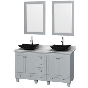 """Acclaim 60"""" Double Bathroom Vanity for Vessel Sinks by Wyndham Collection, Oyster Gray WC-CG8000-60-DBL-VAN-OYS by Wyndham Collection®"""