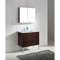 "Madeli Milano 36"" Bathroom Vanity with Quartzstone Top - Walnut Milano-36-WA-Quartz"