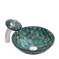 VIGO Oceania Glass Vessel Sink and Waterfall Faucet Set VGT038