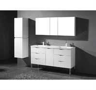 "Madeli Milano 60"" Double Bathroom Vanity for X-Stone Integrated Basins - Glossy White B200-60-002-GW-XSTONE"