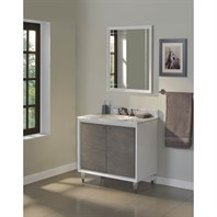 "Fairmont Designs Park Central 36"" Vanity for Stone Top - Glossy White / Silvered Oak 1531-V36_"