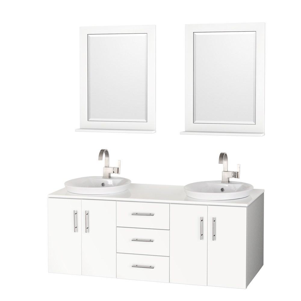 Arrano 55 Double Bathroom Vanity White With Semi Recessed Sinks
