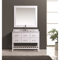 "Design Element London 48"" Vanity Set with Open Bottom - White DEC077D-W-48"