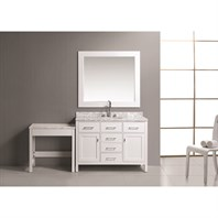 "Design Element London 48"" Bathroom Vanity Set with Make-up Table - White DEC076C-W_MUT-W"