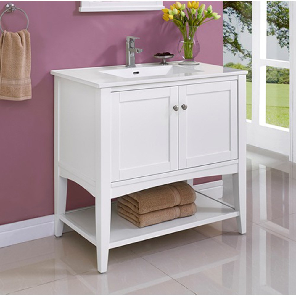 "Fairmont Designs Shaker Americana 36"" Vanity - Open Shelf for Integrated Top - Polar Whitenohtin Sale $839.00 SKU: 1512-VH36- :"