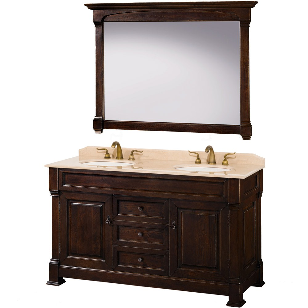 "Andover 60"" Traditional Bathroom Double Vanity Set by Wyndham Collection - Dark Cherrynohtin Sale $1699.00 SKU: WC-TD60-DKCH :"