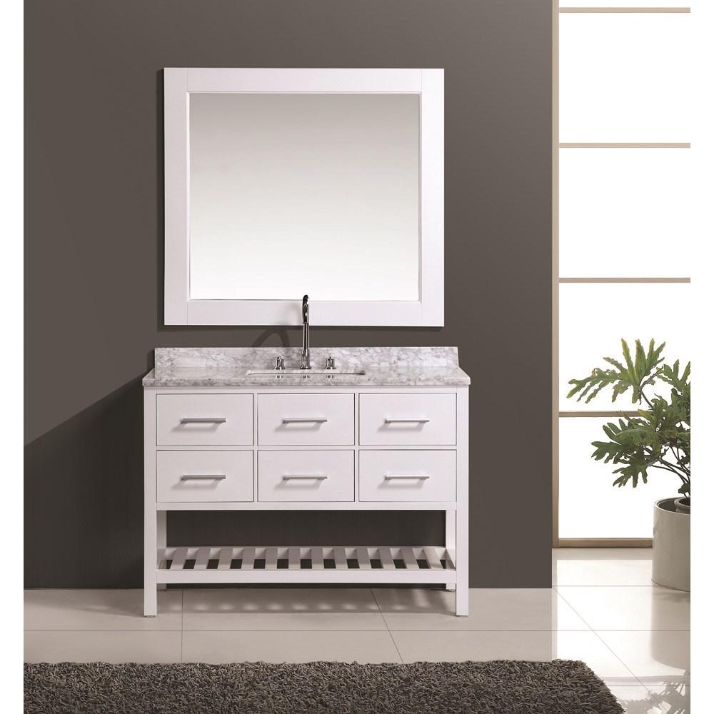 "Design Element London 48"" Vanity Set with Open Bottom - Whitenohtin Sale $1399.00 SKU: DEC077D-W-48 :"