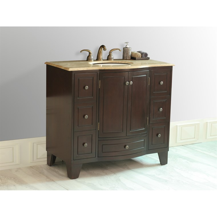 "Stufurhome 40"" Grand Cheswick Single Sink Vanity with Travertine Marble Top - Dark Cherry GM-2206-40-TR"