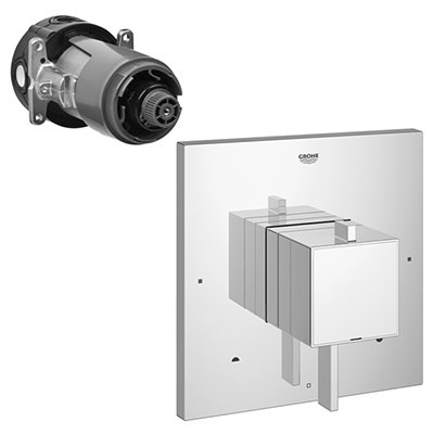 Grohe Eurocube Square Dual Function Pressure Balance Trim with Control Module - Starlight Chrome GRO 19925000