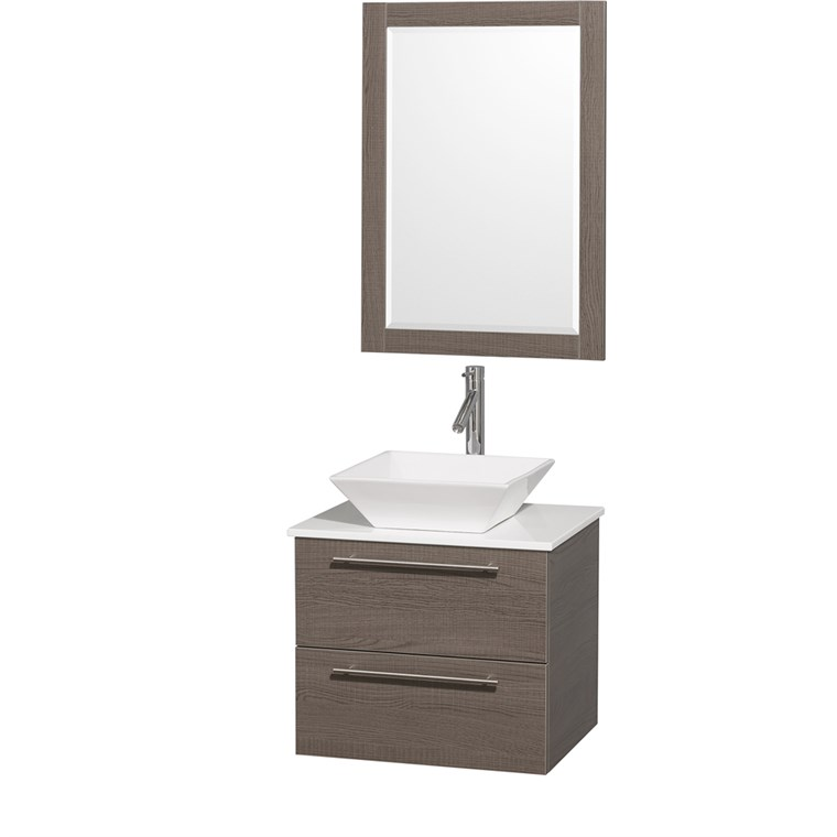 "Amare 24"" Wall-Mounted Bathroom Vanity Set with Vessel Sink by Wyndham Collection - Gray Oak WC-R4100-24-GRO-"