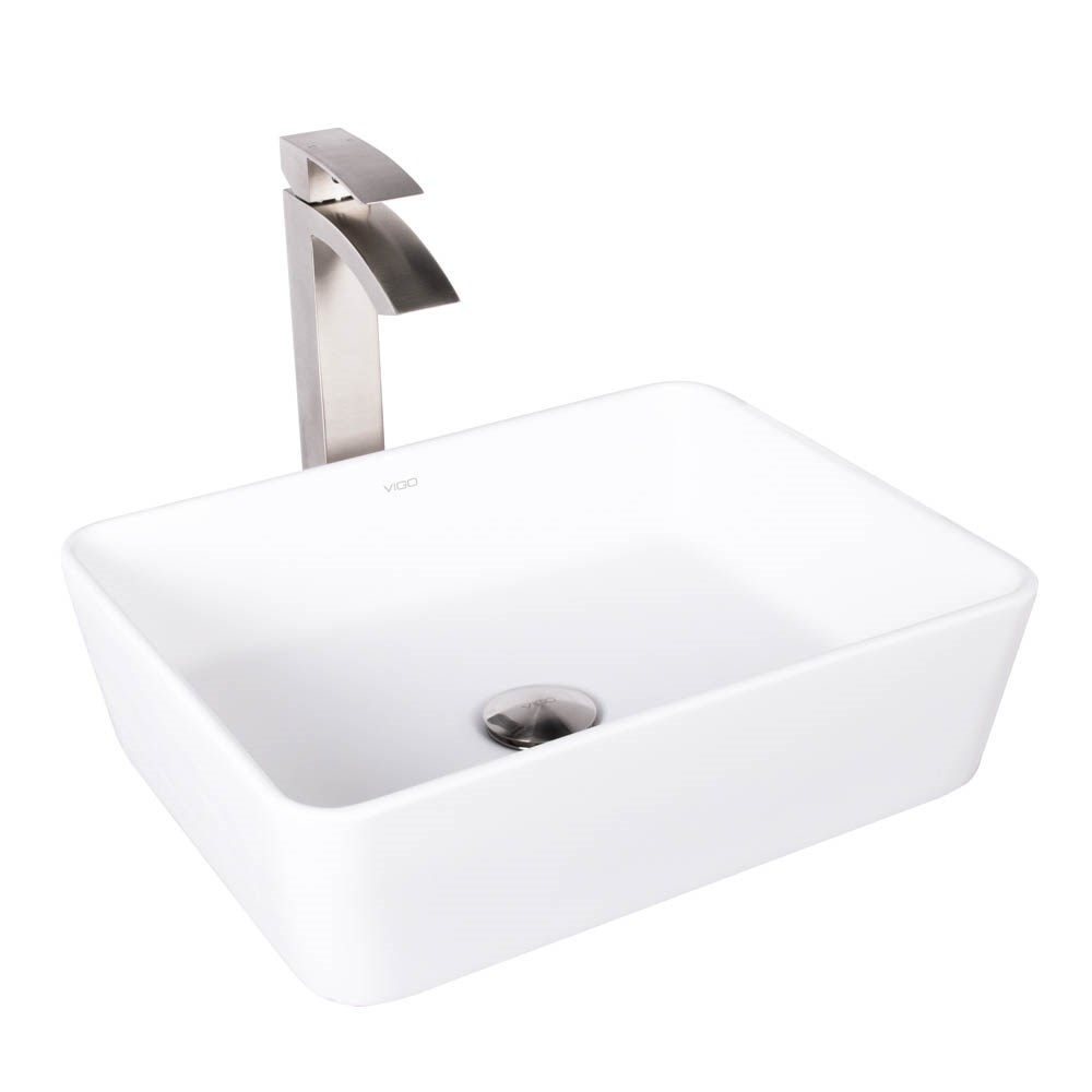 VIGO Sirena Matte Stone Vessel Sink and Duris Bathroom Vessel Faucet in Brushed Nickelnohtin Sale $269.90 SKU: VGT1010 :