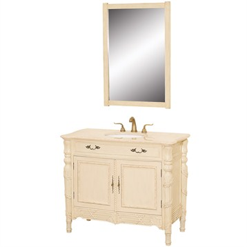 Hartford 42 Antique Bathroom Vanity Antique White W Ivory Marble Marble Countertop Free