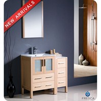 "Fresca Torino 36"" Light Oak Modern Bathroom Vanity with Side Cabinet & Integrated Sink FVN62-2412LO-UNS"