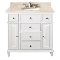"Avanity Windsor 36"" Vanity with Galala Beige Marble Countertop with Sink - White AVA11401-36-WHT-SET"