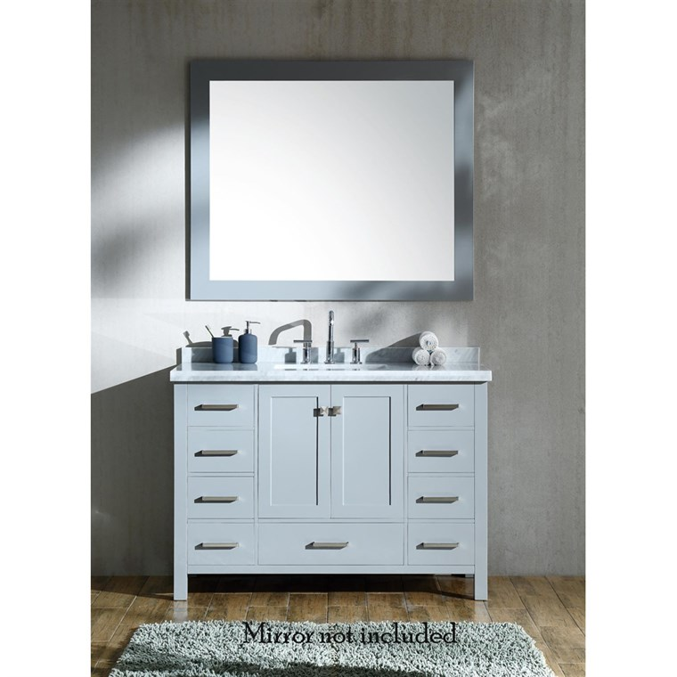 "Ariel Cambridge 49"" Single Sink Vanity with Rectangle Sink and Carrara White Marble Countertop - Grey A049SCWRVOGRY"