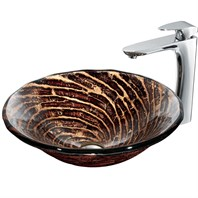 VIGO Chocolate Caramel Swirl Glass Vessel Sink and Faucet Set in Chrome VGT188