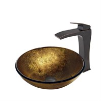 VIGO Liquid Gold Glass Vessel Sink and Blackstonian Faucet Set in Antique Rubbed Bronze Finish VGT388